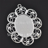 sterling silver blanks - 30X40mm Sterling Silver Plated Oval Blank Tray Pendants Blank Bazel Settings Blank Pendant Trays For Cabochons or Stickers