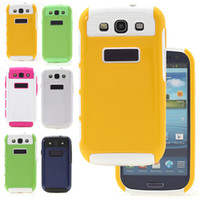 For Samsung Plastic White Multiple Color High Class Dual Layer Hybrid Hard Cell Phone Plastic Silicon Back Cover Protective Case For Samsung Galaxy S3 I9300