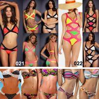 Wholesale Sexy Women s Bandage Dress Bikini Swimwear Push up Padded Swimsuit Fashion Leopard Dot Rainbow Bathing Suit Beachwear Top amp Bottom Newest