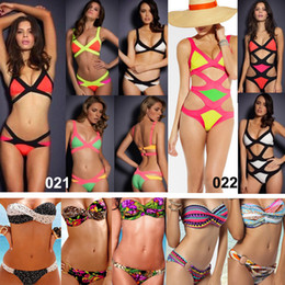 Wholesale Sexy Women s Bandage Dress Bikini Swimwear Push up Padded Swimsuit Fashion Leopard Dot Rainbow Bathing Suit Beachwear Top amp Bottom Newest