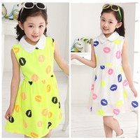 TuTu Summer A-Line NEW! 2014 Nifty Baby girl Popular lip print dress Fluorescein Chiffon sleeveless pleated jumper skirt A-line children's dress D003