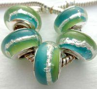 Wholesale Set of pieces Single Silver Core Murano Glass Beads Fit European Charm Bracelet Free Ship AOC024 bnmq wert yuio