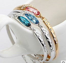 Luxury Blue Diamond Bangle Bracelet Fashion Austria Crystal Glass Shoe Charm Bracelet 925 Silver bracelet for Women Free Shipping