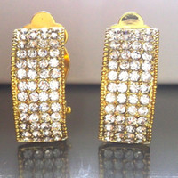 ba screws - clip on earrings BA k real gold tone cm made with Astrian crytals stones new arrival Rihood JEWELRY