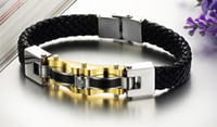 Wholesale Genuine Leather Men s Fashion Bracelets with Carbon Fiber amp Stainless Steel Bangles