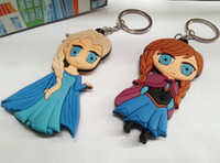 Wholesale Frozen Key Chains Soft Rubber Cartoon Anna Elsa Keychain pendant