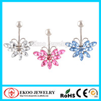 Unisex beautiful body jewelry - 316L steel Mixed Colours Butterfly Belly Button Ring Beautiful and New Style Navel Belly Bar Body Jewelry
