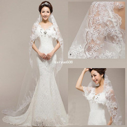 Wholesale 1 Layer Wedding Bridal Veil Lace Applique Beaded Edge Embroidery Noble Cathedral Free amp Drop Shipping hot sales