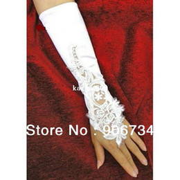Wholesale White Flowers Bridal Gloves Fingerless Satin Lace Pearl Wedding Party Prom Gloves