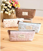 Wholesale Flower Floral Pencil Pen Case Travel Canvas Cosmetic Makeup Bags Storage Pouch Purse