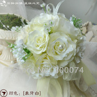 Wholesale High quality of Artificial Roses Ivory White Silk Flower Wedding Bouquet Pink Green Coral Champagne