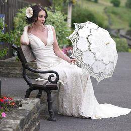 Wholesale handmade White and beige Battenburg Lace Vintage wedding bridal Umbrella Parasol For Bridal Bridesmaid Wedding