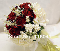 Wholesale Burgundy red rose ivory flower with ribbon Wedding bridal throw bouquet Bridal Bouquet Bridesmaid Flowers