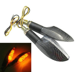 2 pieces *Carbon Fiber Motorcycle motorbike Turn Signal Indicators Lights Amber flasher 12V