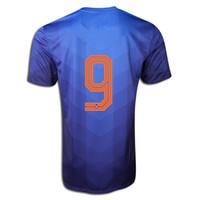 Tailandia Calidad Holanda V.Persie # 9 Inicio de la Copa del Mundo 2014 Holandesas jerseys ausentes del fútbol azul, barato Fútbol Soccer Jersey orden de la mezcla