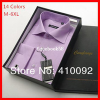 Wholesale 2014 Men s100 Cotton Business formal Long Sleeve Dress French Cufflinks Shirt YG009