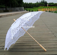 Wholesale 30 quot White Patchwork Fashional Embroidered Lace Parasol Sun Umbrella Wedding Bridal Bridesmaid Party Decoration
