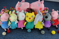 Unisex Big Kids  Peppa Pig  1 set 9pcs set New item 2014 Peppa Pig Family & Peppa Pig's Friends Plush gift Toys Doll