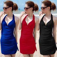 Women Swimdress Pure Colour 2014 Sexy Sweet Bowknot One Piece Swimsuits+Skirt Halter Pad Swimwear Bathing Suit