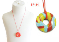 Wholesale MIX COLOR Classic Silicone Pendant Jewelry Charm Donut Shape of Pendant Necklaces Pendant Baby Chewlry Silicone Beads