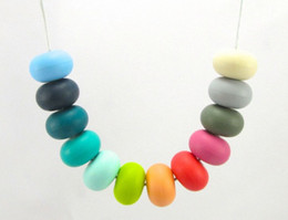 Wholesale MIX COLOR Teething Necklaces Baby Safe Silicone Jewels BPA Free Silicone Necklaces Teething Silicone Beads