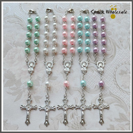 50pcs lot Religious Gifts Multi Colors Glass Pearl Rosary Bracelet Children's Communion Baby's Bastism Favor Decade Mini Rosary