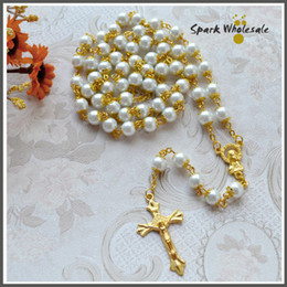 12pcs lot Wholesale Religious Gifts Gold Capped 8mm White Glass Pearl Rosary Praying Catholic Women's Rosary Necklace