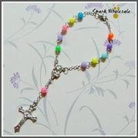 Wholesale 50pcs mm Beautiful Rainbow Acrylic Children s One Decade Rosary Holy Kid s Prayer Rosary