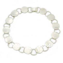 Wholesale Silver plated bracelet with jump connected mm bezel base fit mm glass cabochon bracelet blanks sold pkg