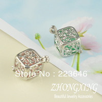 Charms antique pearl pendant - 13 mm Antique Silver Plated Filigree Cube Cage Pendant pearl cage sea glass lockets MOQ