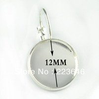 Wholesale E070010 Fit MM glass cabochons Silver Plated French Lever Back Earrings Blank Base buttons earring bezels