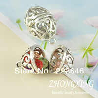 Wholesale mm Antique Silver Filigree Oval Ball Brass Cage Pendant pearl cage sea glass lockets Min Order