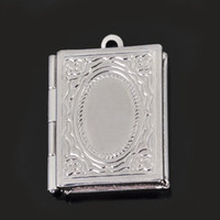Wholesale ZX104 mm Rectangle Brass Black Silver Plated Locket Charms Photo Locket Pendants Jewelry Finddings