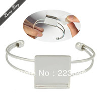 Wholesale S230076 Bracelet With MM Square Setting Adjustable Silver Plated Brass cuff bracelet blank bracelet blanks bracelet blanks