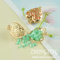 Wholesale P2135 mm Heart Shape Filigree Brass Cage Pendant pearl cage K Gold Plated sea glass lockets Min Order