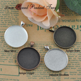 Wholesale A15653 mm Colors Mix order Round pendant trays matching clear glass cabochons for custom photo jewelry making