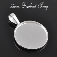 Wholesale A15654 MM Silver Round Zinc Alloy Cameo Cabochon Base Setting Pendants Nickle and Lead free fit mm cabochon bezel settings
