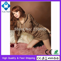 2014 Free Shipping Sexy Mini Fashion Women's Leopard Hoodie Dress Sweats double breasted Pullover Tops for Women Plus size