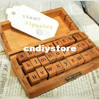 Yes wood letters - 2014 Sale Funnyman Letter Alphabet Stamp set New Uppercase amp Lowercase Wood Set wooden Box multi purpose Diy Funny Work