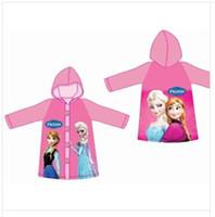 Wholesale Hot Sale New Children Rain Cape Cartoon Pattern Frozen Elsa Anna Design Kids Childs Raincoat PVC Hooded Kid Child Rain Coat