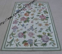 Wholesale 4 x6 Handmade Floral Roses Wool Needlepoint Area Rug Art Tapestry Wall Hanging