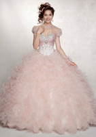 quinceanera dress - 2015 New Arrivals Ball Gown Sweetheart Lace up Back Floor Length Ruffle Beads Organza Quinceanera Dresses