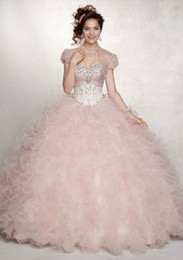 Wholesale 2015 New Arrivals Ball Gown Sweetheart Lace up Back Floor Length Ruffle Beads Organza Quinceanera Dresses