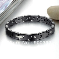 Wholesale Healthy Anti fatigued Tungsten Steel Ceramic Bracelet For Man With Energy magnetic which is Good to your Body Black and White WS415