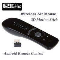 Wholesale Gyroscope T2 RF G D Motion Wireless Keyboard For Android Google TV Box Fly Air Mouse Combos Free Drop Shipping