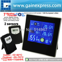 Kitchen Temperature Sensor S08S620PV_2S Indoor Outdoor Digital Wireless Weather Station Temperature RH Air Pressure RCC DCF Barometer with Bar Chart + 2 sensors
