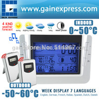 Kitchen Temperature Sensor S08S608B_2S Digital Wireless Weather Forecast Station Indoor Outdoor Temperature RH% Thermometer Humidity RCC Clock Calendar with 2 sensors