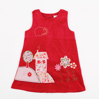 Summer girls boutique clothes - 1y y girls boutique clothing Nova fashion dress house flower embroidered corduroy sleeveless red party dresses for baby H3610