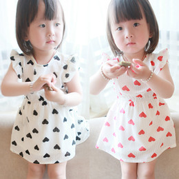 Wholesale Korean Kids Girls Summer Basic Clothing Chiffon Little Heart Shape Puff Sleeve Dress Princess Dress Country Style Kids Clothes J0024