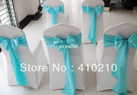 Wholesale TURQOUISE satin chair sash chair bow chair tie spandex chair cover